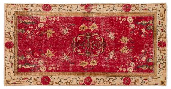 Vintage  Kilim Rug Retro Small Size 3'5'' X 6'11'' Ft   kilim rug, moroccan rug, beni ourain, rag rug, tapis kilim, vintage