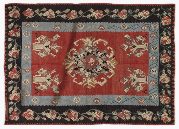 Kilim  Rug  Karabakh Large Size 6'1'' X 8'5'' Ft   kilim rug, moroccan rug, beni ourain, rag rug, tapis kilim, vintage