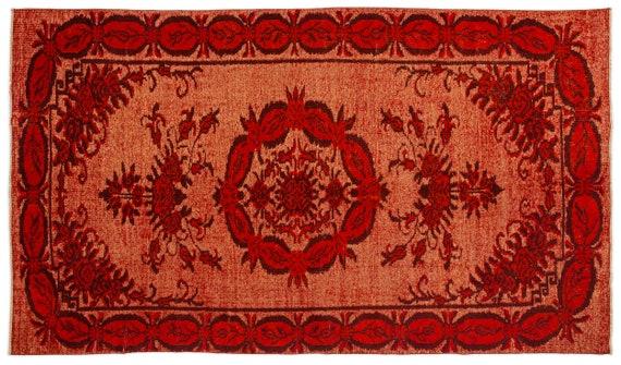 Carved  Kilim Rug Orange Medium Size 5'3'' X 9'0'' Ft   kilim rug, moroccan rug, beni ourain, rag rug, tapis kilim, vintage