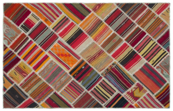 Kilim Patchwork Unique  Rug  Naturel Medium Size 5'1'' X 7'10'' FtTurkish Oushak Moroccan Rug