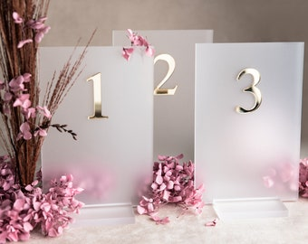 Acrylic table number milk glass gold with bracket