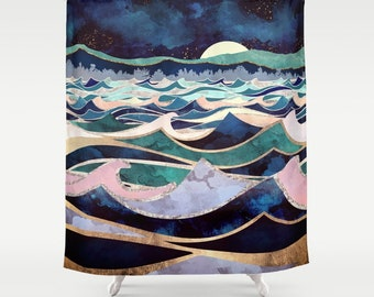 Moonlit Ocean Waves Shower Curtain