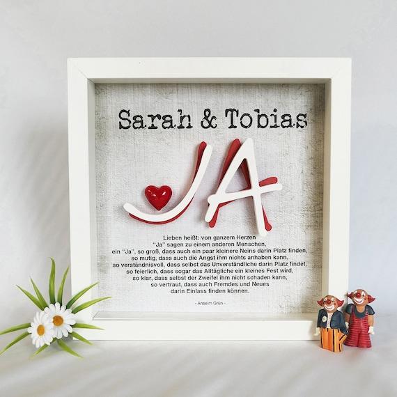 Bilderrahmen Hochzeit Geschenk Liebe 3d Ja Herz