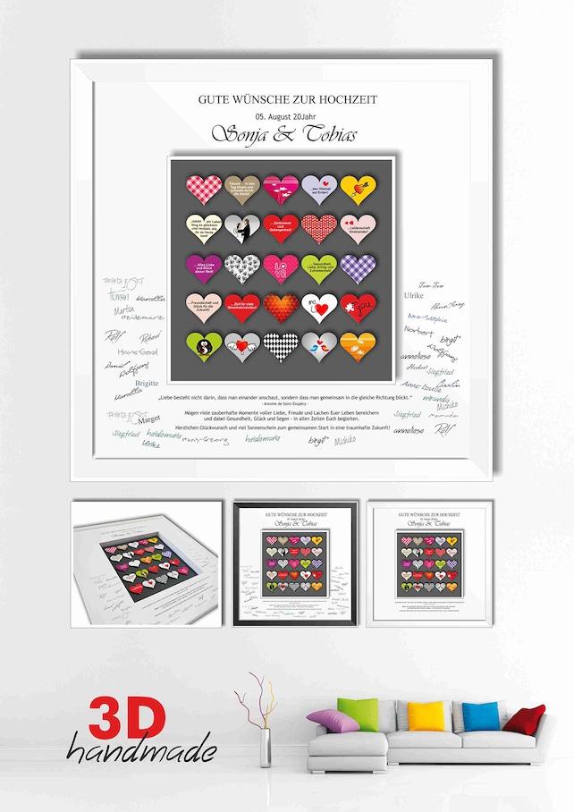 Bilderrahmen Hochzeit Gästebuch farbige Herzen | Etsy