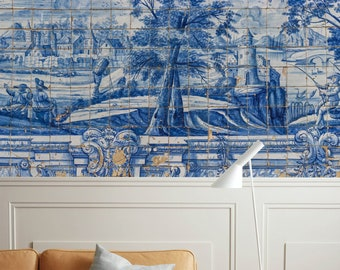 Chinoiserie Wallpaper Blue Tile Wall Mural Gold Brush Wall Print Chinese  Home Decor Cafe Design Entryway