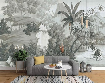 wall mural etsydark forest wallpaper monochrome jungle wall mural landscape wall art natural home decor living room bedroom cafe design