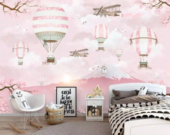 Kids Wallpaper Hot Air Balloon Wall Murals Pink Mountain Wall Decor  Landscape Wall Painting Art Childroom Baby Nursery Girls Boys Bedroom