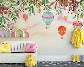 Kids Air Balloon Wallpaper Nursery Leaf Wall Murals Boys Girls Bedroom Wall  Decor Little Balloons Wall Art Childroom Play Room