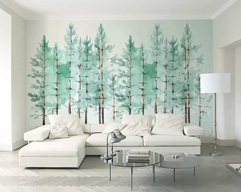 Modern Mint Green Tree Painting Forest Wallpaper Jungle Wall Decor Tropical  Cafe Decor Natural Home Decor Living Room Entryway