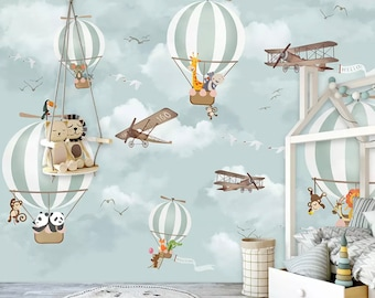 Kids Wallpaper Hot Air Balloon Animals Wallpaper Kids Wall Mural Airplane  Wall Art Nursery Wall Decor Boys Bedroom Girls Bedroom Playroom