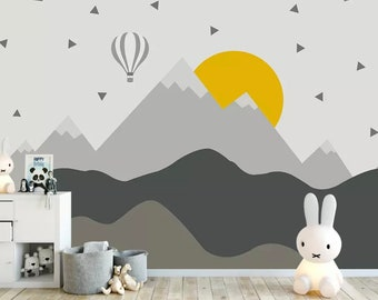 Elegant Kids Mountain Wallpaper Nursery Hot Air Balloon Wall Murals Child Landscape  Reusable Wall Art Baby Room Wall Decor Boys Bedroom Girls Bedroo