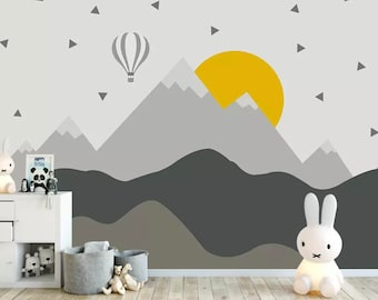Superior Kids Mountain Wallpaper Nursery Hot Air Balloon Wall Murals Child Landscape  Reusable Wall Art Baby Room Wall Decor Boys Bedroom Girls Bedroo
