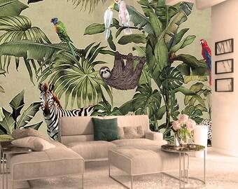 Forest Wallpaper Vintage Jungle Wall Mural Tropical Home Decor Vintage Cafe  Design Living Room Bedroom Entryway
