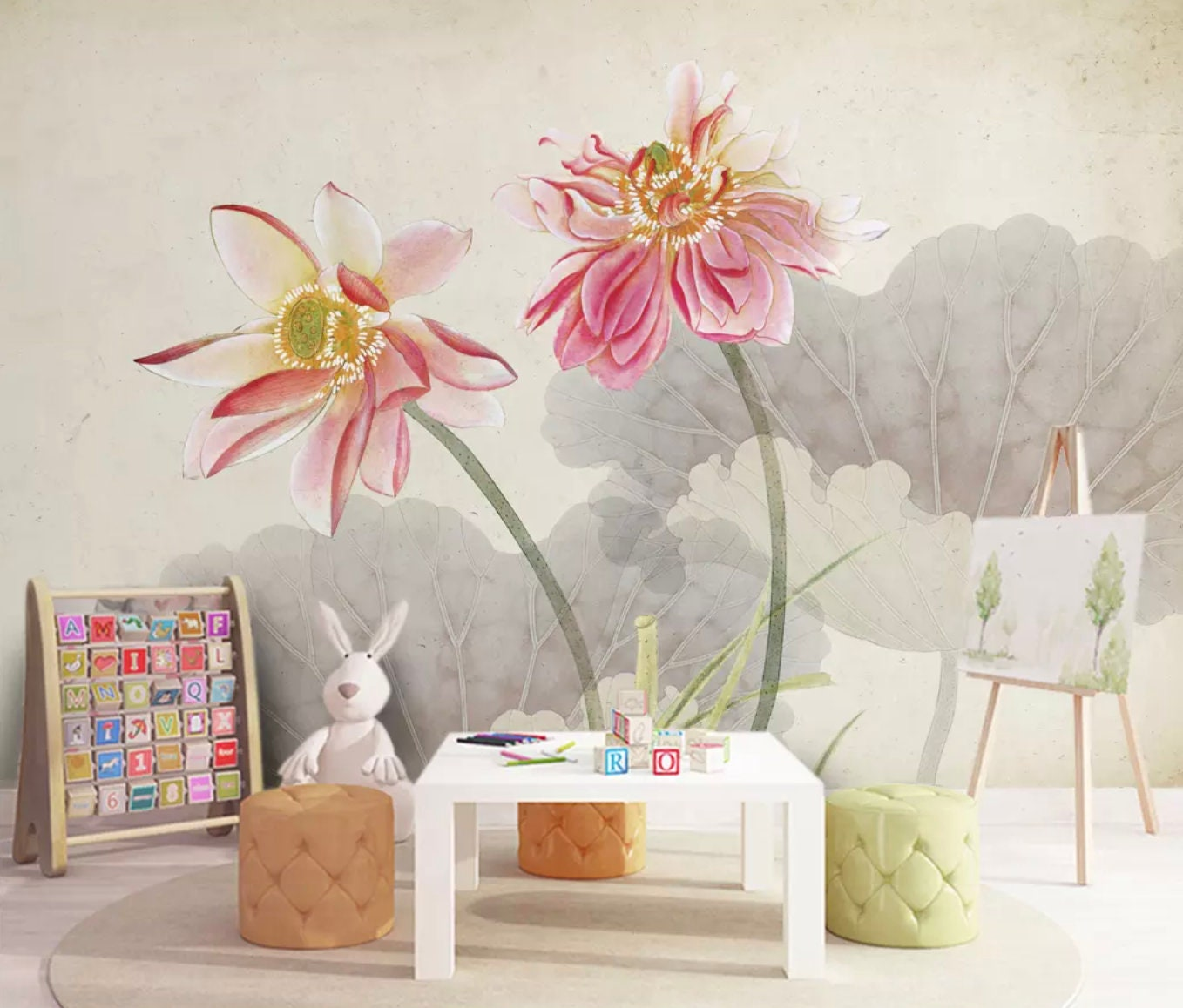 Floral Wallpaper Lotus Flower Wall Mural Charcoal Floral Wall Etsy