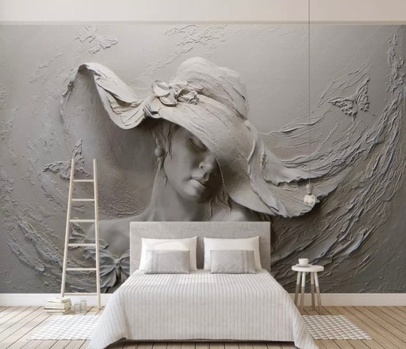 Superieur Sculpture Wallpaper 3D Embossed Look Wall Mural Pretty Woman Cement Wall  Art Living Room Bedroom Cafe Design