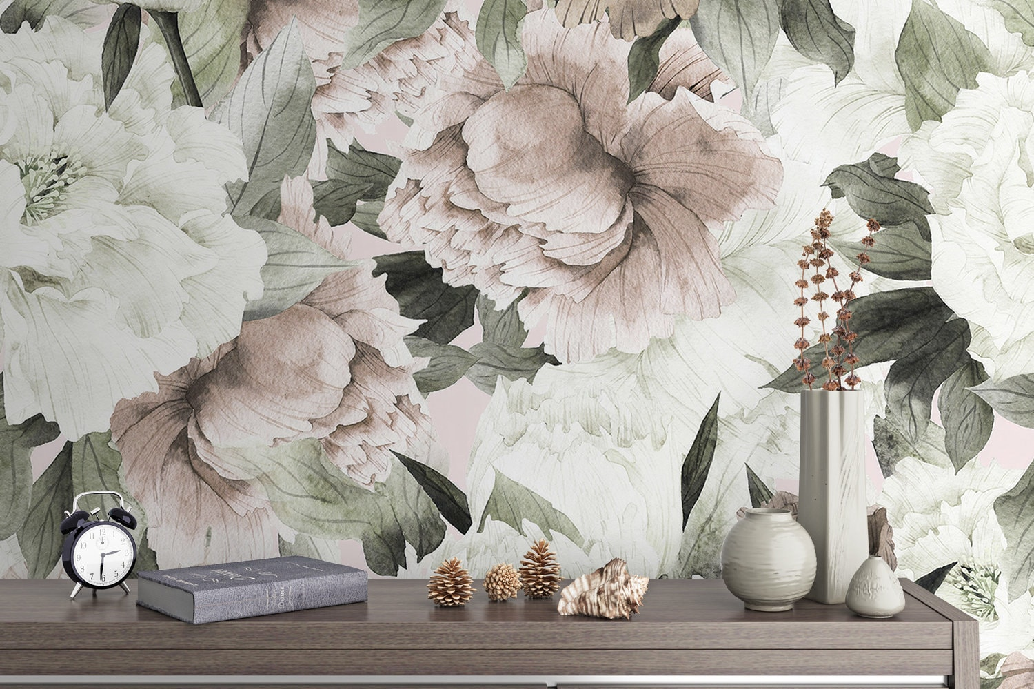 Dutch Floral Wallpaper Peony Flower Wall Mural Blossom Wall Etsy