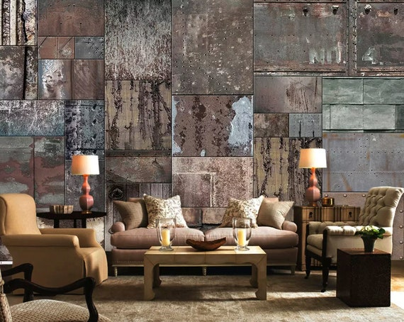 Faux Stone Wallpaper Dark Stone Wall Mural Faux Marble Wall Art Modern Home Decor Living Room Entryway