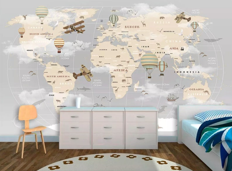 Kids Map Wallpaper For Child Beige World Map Wall Mural Vintage Map Wall  Art Airplane and Hot Air Balloon Wall Print Children Rooms
