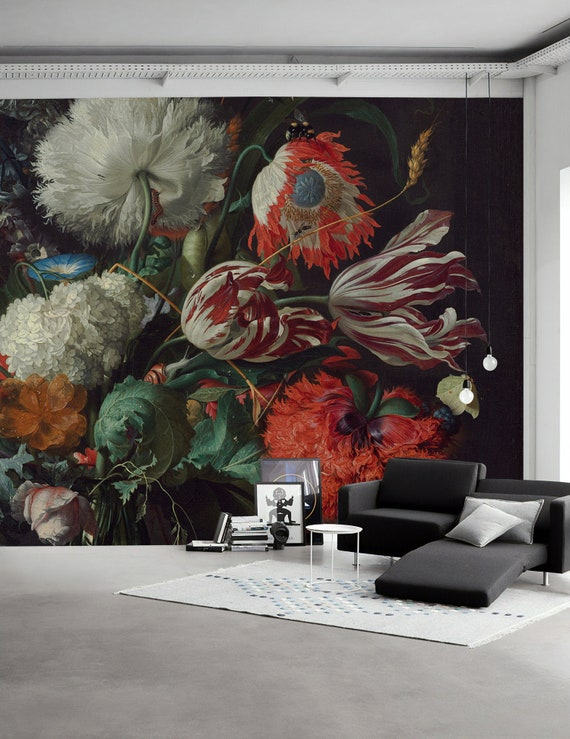 Dutch Dark Floral Wallpaper Tulip Flower Wall Mural Colorful Bouqet Wall Print Dutch Floral Wall Art Living Room Bedroom