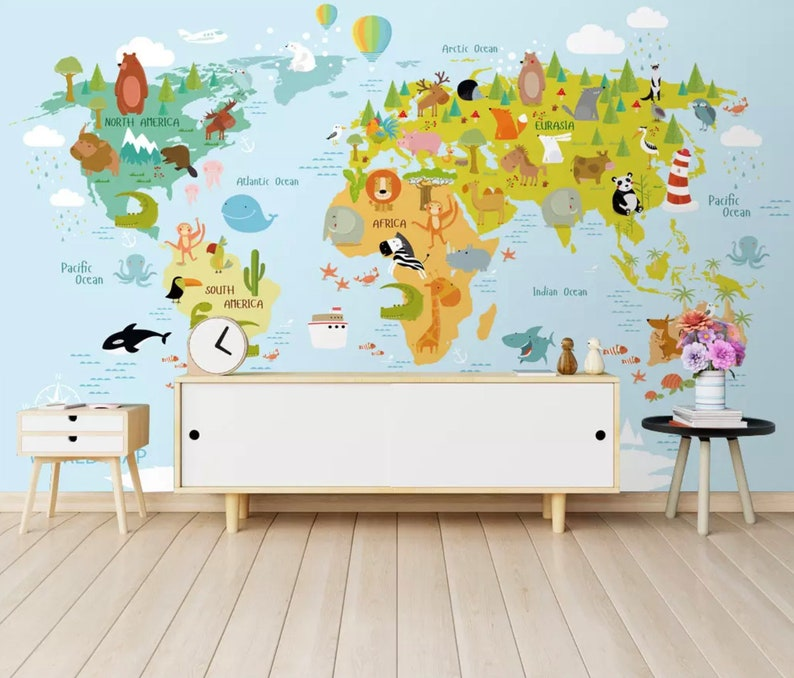 Kids Wallpaper Child World Map Wall Mural Cartoon Animals Wall Etsy