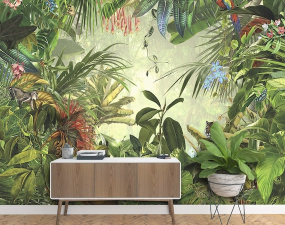 Forest Wallpaper Tropical Leaf Wall Mural Exotic Jungle Wall Print Natural Home Decor Cafe Design Living Room Bedroom