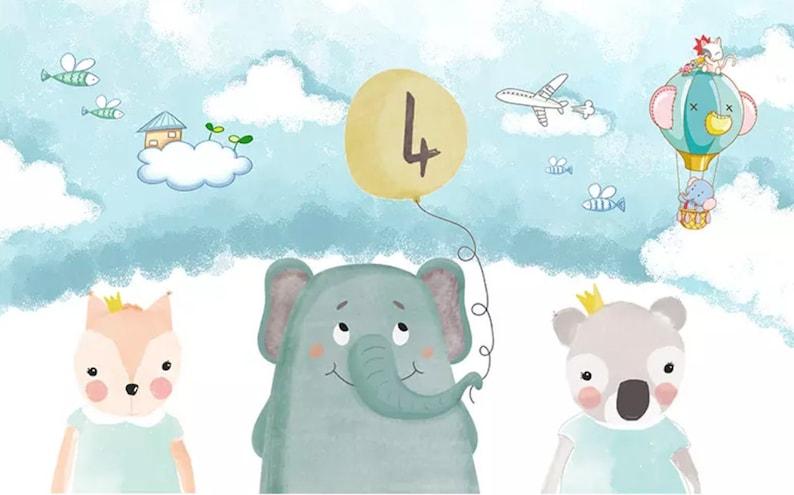 Kids Wallpaper Cartoon Animals Wall Murals Elephant Bear ...