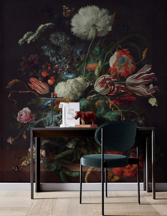 Dark Floral Wallpaper Dutch Floral Wall Mural Colorful Bouqet Wall Print Tulip Blossom Wall Art Living Room Entryway
