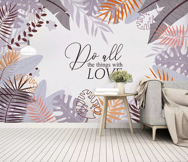 tropical home decor leaf wallpaper colorful leaf wall mural tropical home decor etsy tropical home decor fabric coordinated leaf wallpaper colorful leaf wall mural