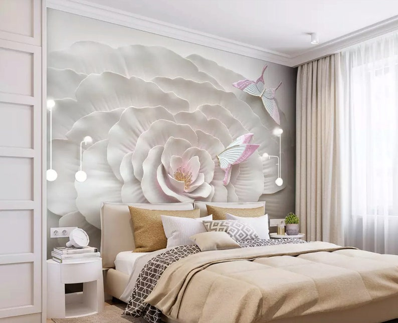 Floral Wallpaper 3d Embossed Look Flower Wall Mural Living Room Bedroom Entryway Cafe Design Classic Home Decor