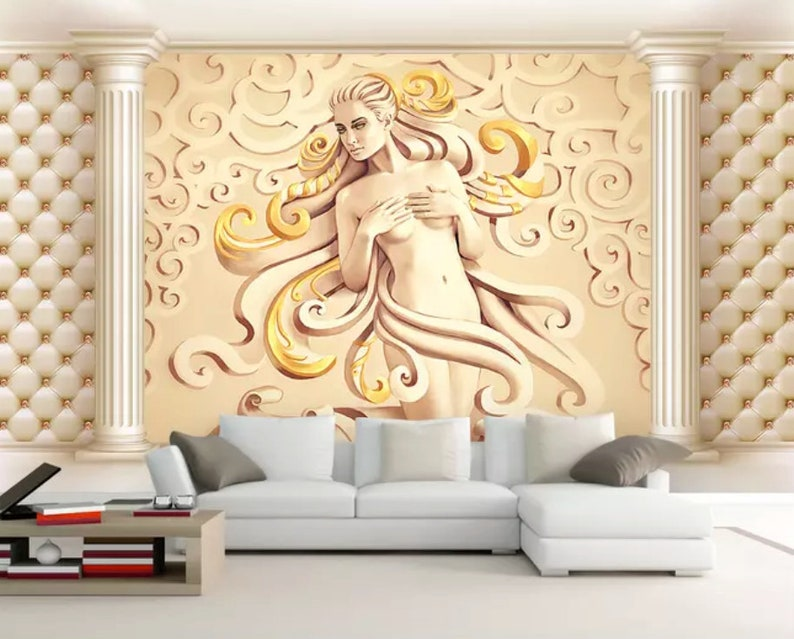 D embossed sculpture wallpaper cement gold female wall mural etsy