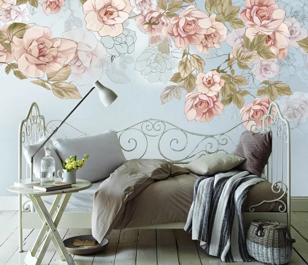 Floral Wallpaper Soft Pink Flower Wall Mural Vintage Home Etsy