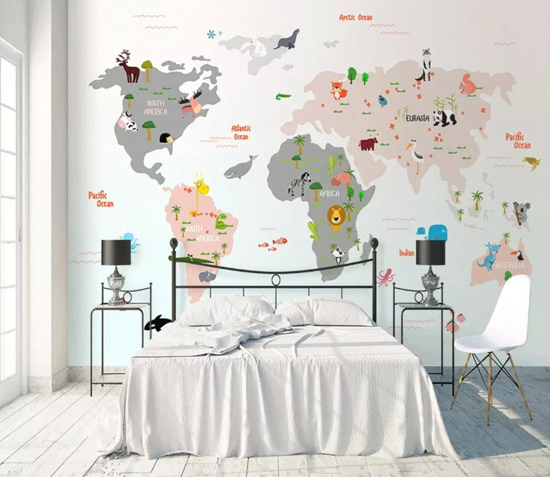 Kids Wallpaper Child World Map Wall Murals Animals Wall Decor Boys Girls Bedroom Nursery Wall Art Baby Room Wall Painting Art