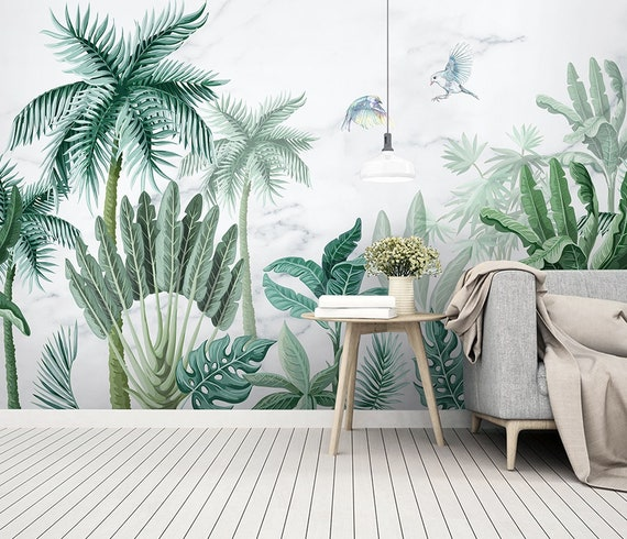 Forest Wallpaper Palm Tree Wall Mural Tropical Jungle Wall Print Exotic Home Decor Cafe Design Living Room Bedroom