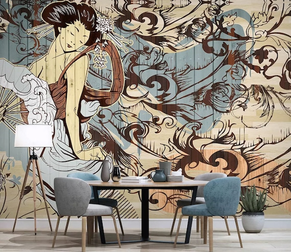 Japanese Wallpaper Vintage Artistic Girl Wall Mural Asiatic Home Decor Cafe Design Living Room Bedroom Entryway