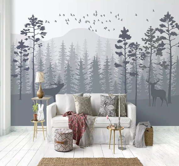 Monochrome Forest Wallpaper Misty Jungle Wall Mural Mountain Landscape Wall Art Natural Home Decor Cafe Design Living Room