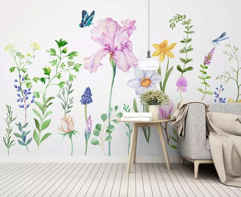 Floral Wallpaper Cartoon Flower Wall Mural Colorful Garden Wall Art Kitchen Wall Decor Living Room Bedroom Entryway
