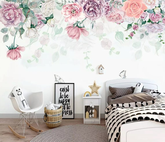 Peony Wallpaper Vintage Floral Wall Mural Nostalgic Flower Wall Art Retro Home Decor Kitchen Wall Design Living Room Bedroom