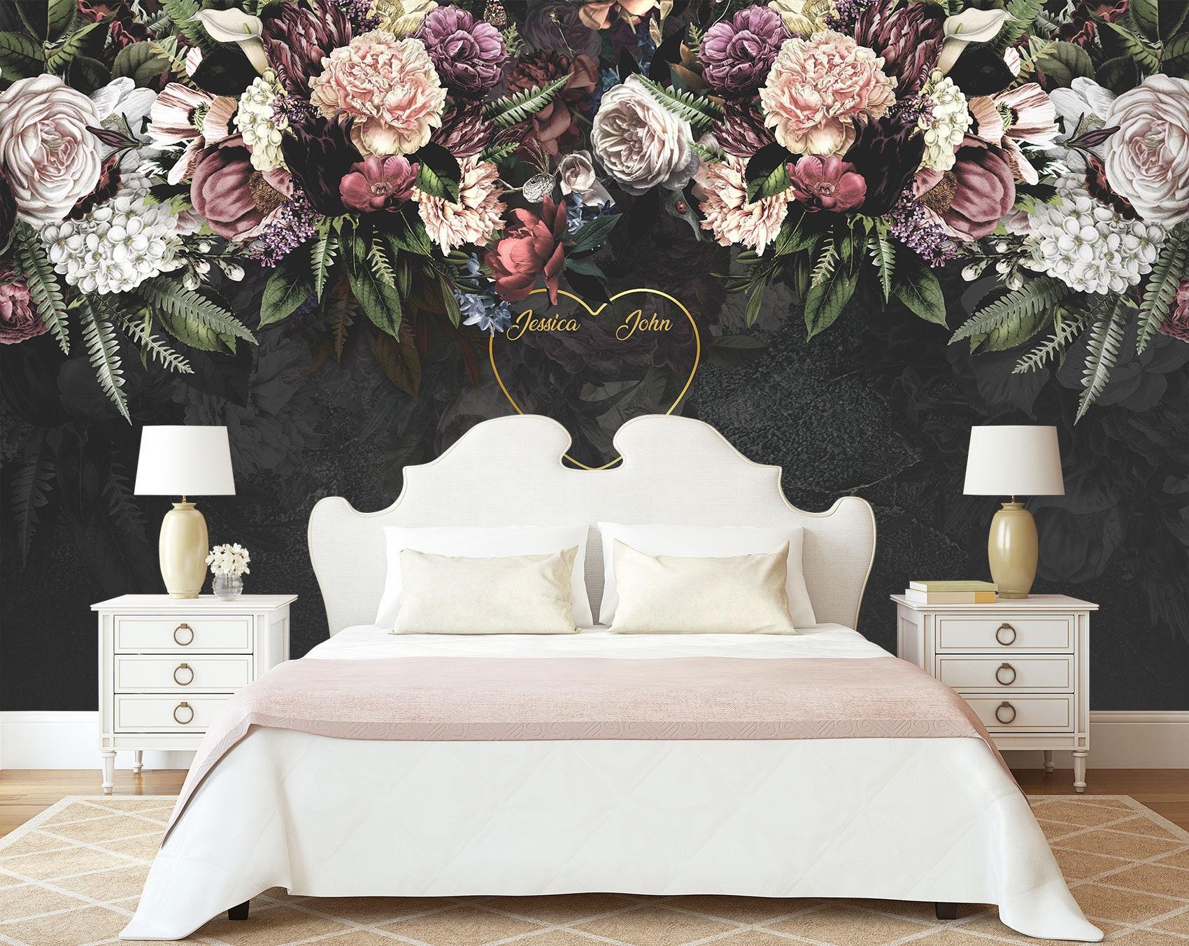 Dark Floral Wallpaper Soft Rose Wall Mural Peony Blossom Wall Etsy