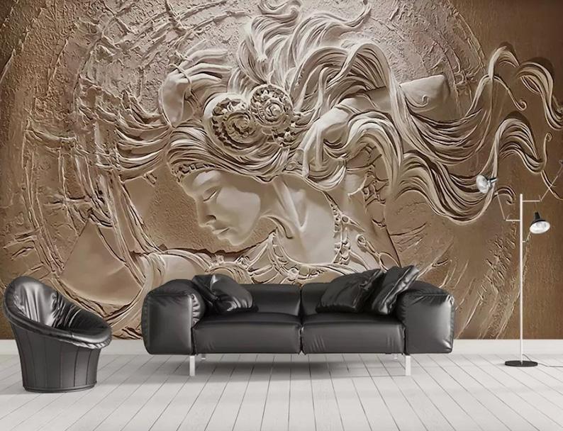 3d Embossed Look Cement Female Wallpaper Sculpture Art Wall Murals For Living Room Luxury Home Decor Bedroom