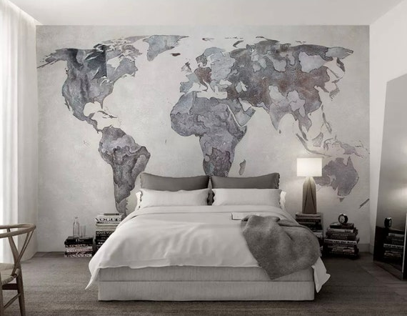 Map Wallpaper Monochrome World Map Wall Mural Retro Home Decor Vintage Cafe  Design Young Room Architectural Office Decor