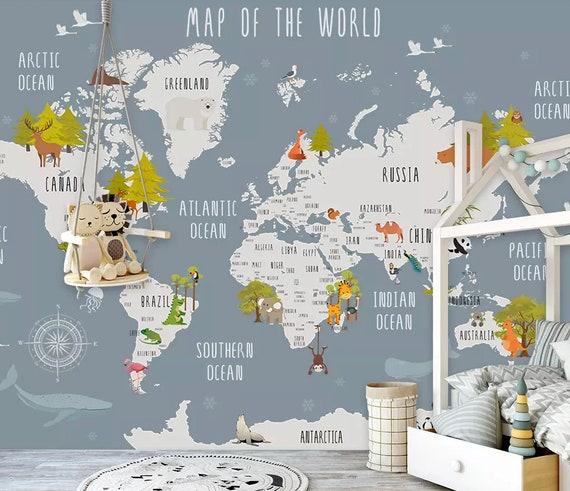 Kids Grizzle World Map with Cartoon Animals Wallpaper, Animal Map Wall  Murals, Boys and Girls Bedroom Wall Print, Kindergarten Wall Decor,