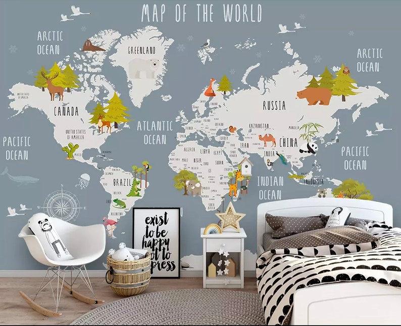 Kids World Map Wallpaper Nursery Animal Map Wall Murals Boys | Etsy