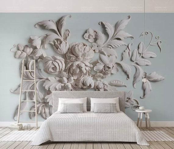 3D Floral Wallpaper Embossed Look Cement Flower Wall Mural Modern Home  Decor Living Room Bedroom Entryway