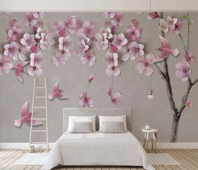 Floral Wallpaper 3D Cherry Blossom Wall Mural Oil Painting Flower Wall Decor Living Room Classic Cafe Decor
