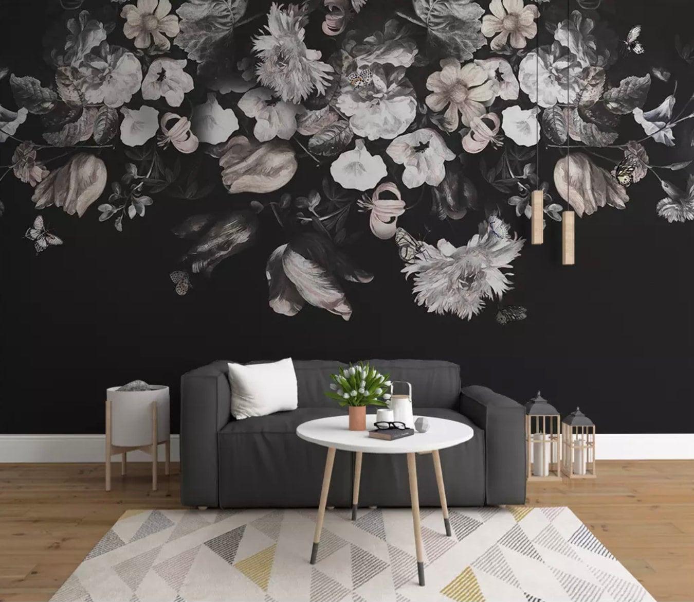 Dark Floral Wallpaper Peony Flower Wall Mural Vintage Floral Etsy