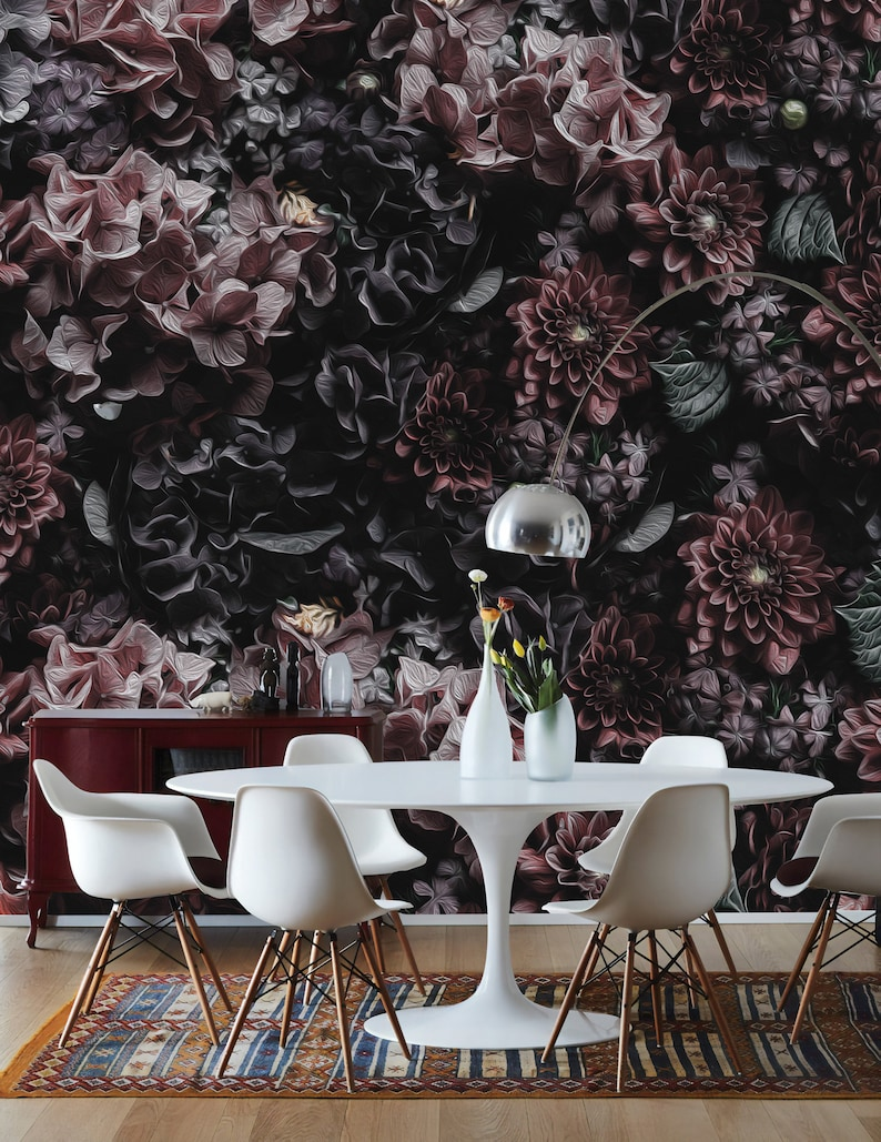 Dark Floral Wallpaper Petal Flower Wall Mural Oil Painting Etsy
