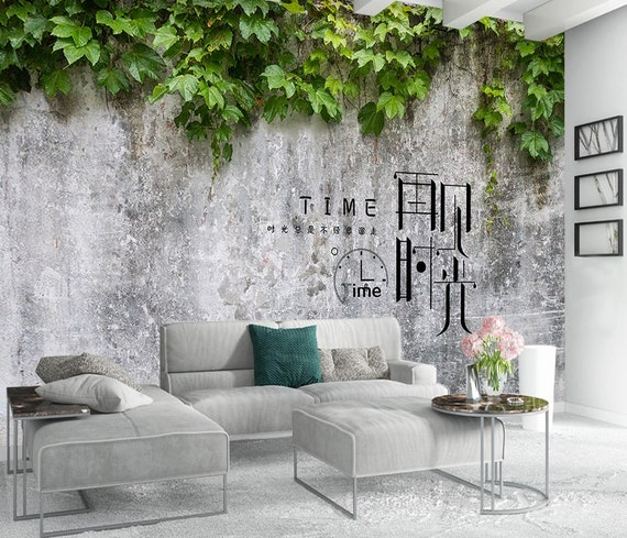 Leaf Wallpaper Ivy Leaves Wall Mural Rustic Home Decor Nostalgic Cafe Design Living Room Bedroom Entryway