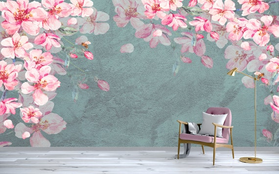 Floral Wallpaper Cherry Blossom Wall Mural Watercolor Sakura Wall Painting Pink Flowers Wall Print Living Room Bedroom
