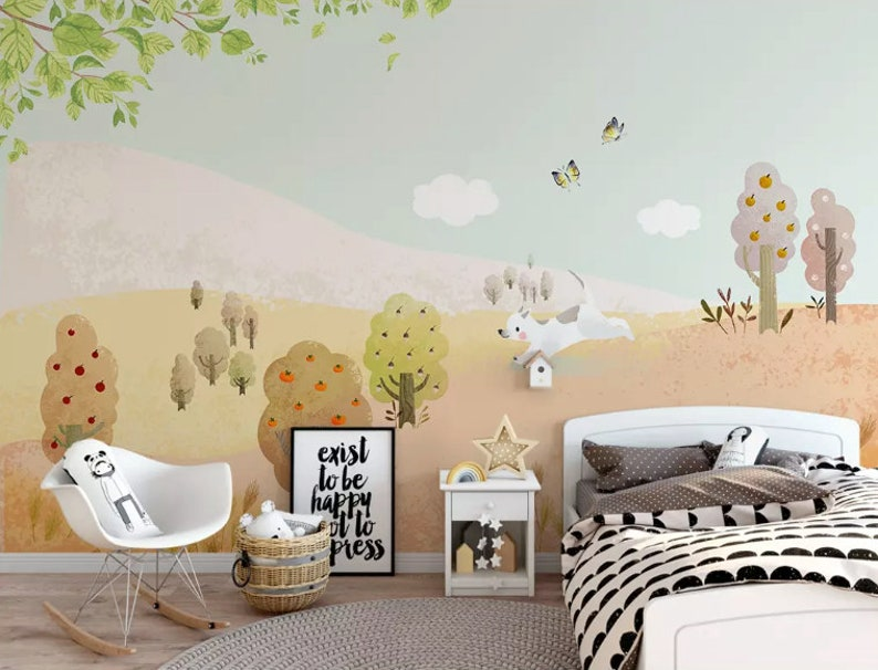 . Kids Wallpaper Fruit Tree Wall Mural Cartoon Puppy Wall Art Kids Room  Childroom Baby Nursery Boys Girls Bedroom