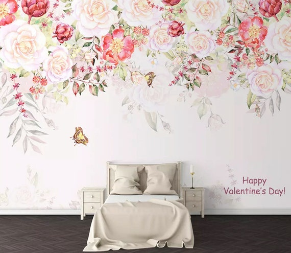 Floral Wallpaper Soft Pink Flower Wall Mural Vine Blossom Wall Etsy